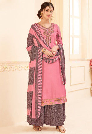 Embroidered Crepe Pakistani Suit in Pink