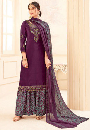 Embroidered Crepe Pakistani Suit in Wine