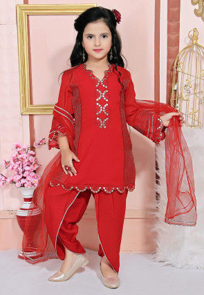 Embroidered Crepe Punjabi Suit in Red