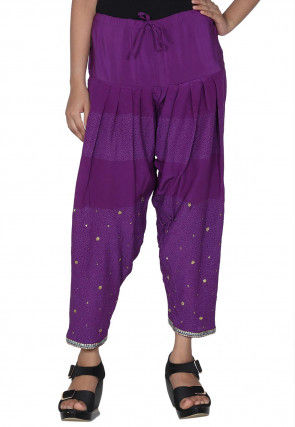 Embroidered Crepe Salwar in Purple