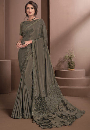 Embroidered Crepe Saree in Grey