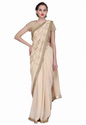Embroidered Crepe Saree in Light Beige