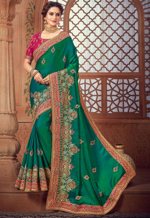 Embroidered Crepe Silk Saree in Dark Teal Green