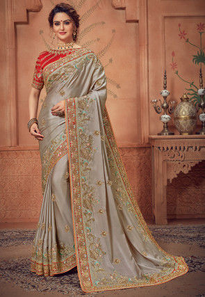 Embroidered Crepe Silk Saree in Grey