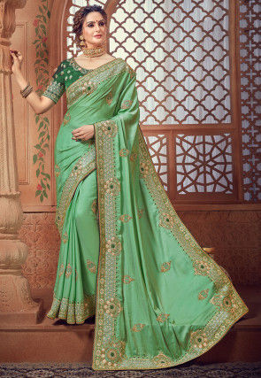 Embroidered Crepe Silk Saree in Light Green