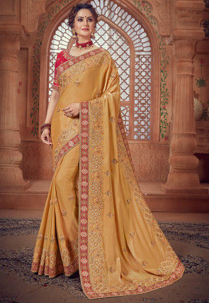 Embroidered Crepe Silk Saree in Light Mustard