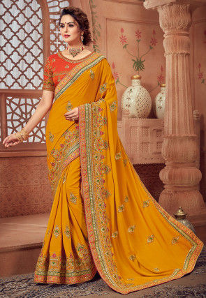 Embroidered Crepe Silk Saree in Mustard