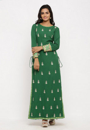 Embroidered Crepe Straight Kurta in Green