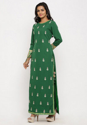 Embroidered Crepe Straight Kurta Set in Green
