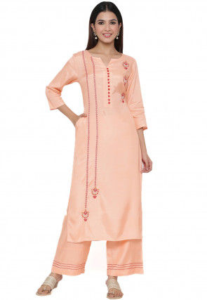 Embroidered Crepe Straight Kurta Set in Peach