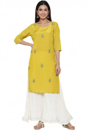 Embroidered Crepe Straight Kurta Set in Yellow