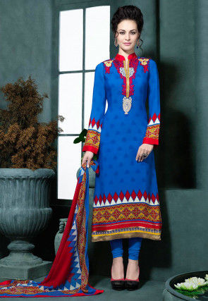Embroidered Crepe Straight Suit in Blue