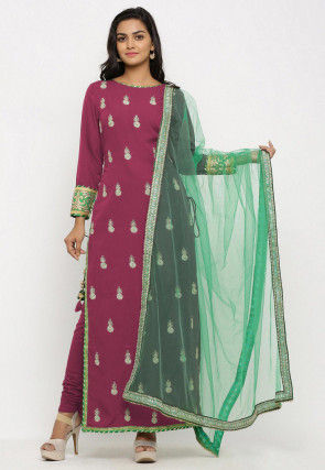Embroidered Crepe Straight Suit in Magenta