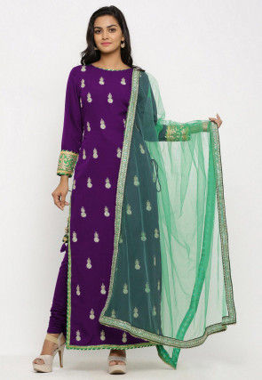 Embroidered Crepe Straight Suit in Purple