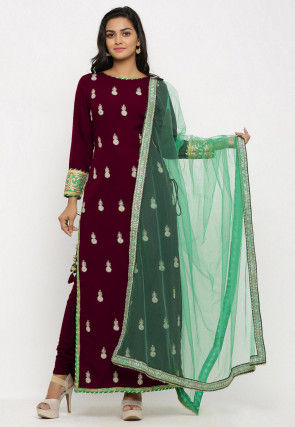 Embroidered Crepe Straight Suit in Wine