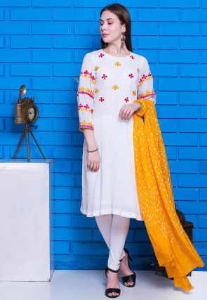 Embroidered Crushed Cotton Straight Suit in White