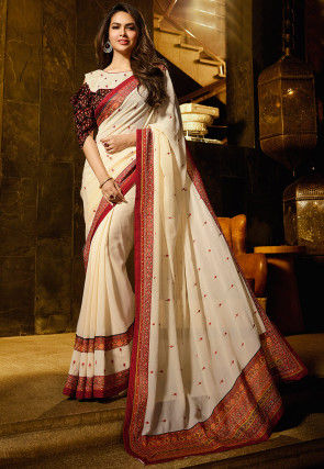 Embroidered Crushed Georgette Saree in Off White