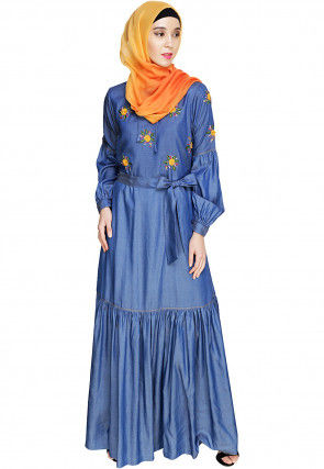 Embroidered Denim Closed Abaya in Blue