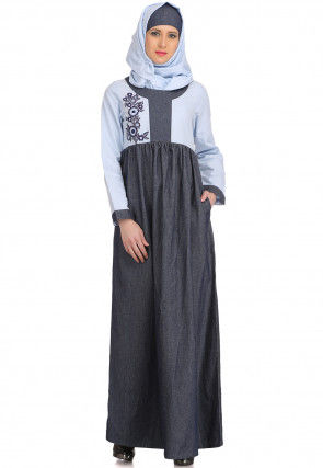 Embroidered Denim Cotton Abaya in Grey and Sky Blue