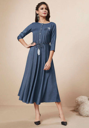 Embroidered Denim Cotton Dress in Blue