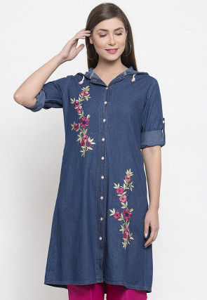 Embroidered Denim Front Open Hoody Kurta in Blue