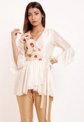 Embroidered Georgette Peplum Style Top in Off White