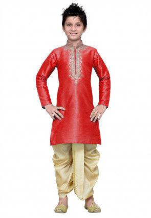Embroidered Dupion Dhoti Kurta in Red