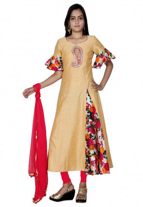 Embroidered Dupion Silk A Line Frill Suit in Beige