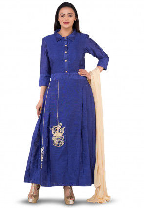 Embroidered Dupion Silk Abaya Style Suit in Dark Blue