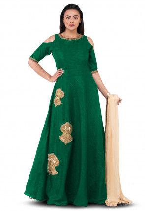 Embroidered Dupion Silk Abaya Style Suit in Dark Green