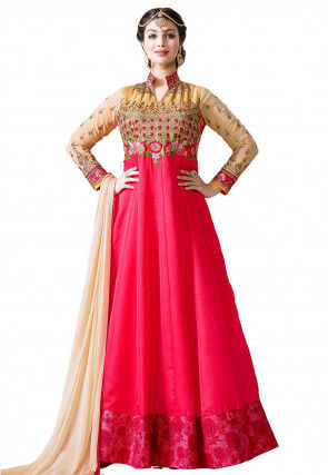 Embroidered Dupion Silk Abaya Style Suit in Fuchsia and Beige