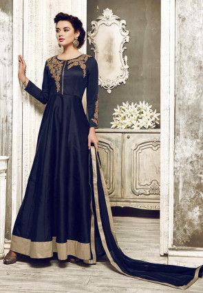 Embroidered Dupion Silk Abaya Style Suit in Navy Blue