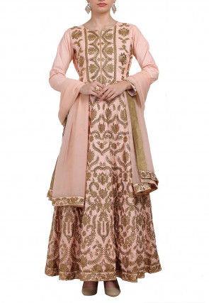 Embroidered Dupion Silk Abaya Style Suit in Peach