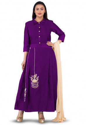 Embroidered Dupion Silk Abaya Style Suit in Purple