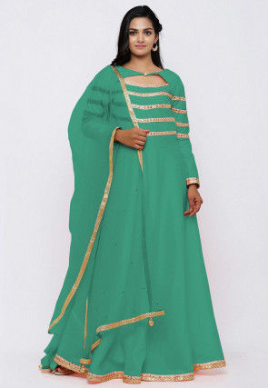 Embroidered Dupion Silk Abaya Style Suit in Sea Green
