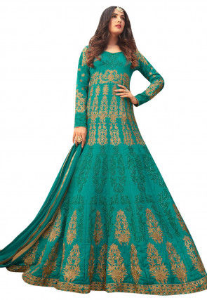 Embroidered Dupion Silk Abaya Style Suit in Teal Blue