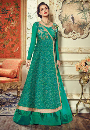 Embroidered Dupion Silk Abaya Style Suit in Teal Green