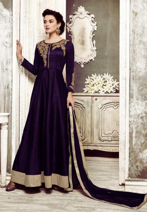 Embroidered Dupion Silk Abaya Style Suit in Violet