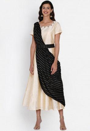 Embroidered Dupion Silk Anarkali Suit in Light Beige