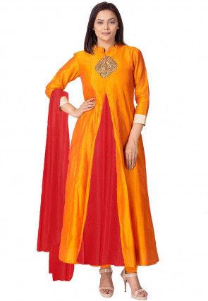 Embroidered Dupion Silk Anarkali Suit in Orange/Red