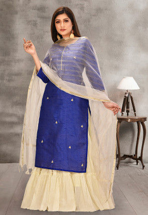 Embroidered Dupion Silk and Cotton Straight Suit in Navy Blue and Cream