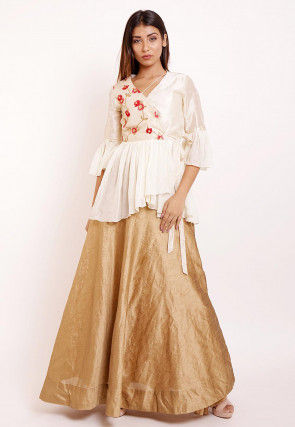 Embroidered Dupion Silk and Georgette Top Set in Off White