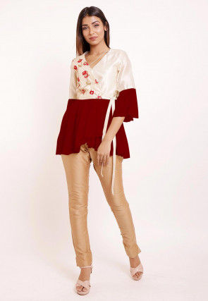 Embroidered Dupion Silk and Georgette Top Set in Red and Off White
