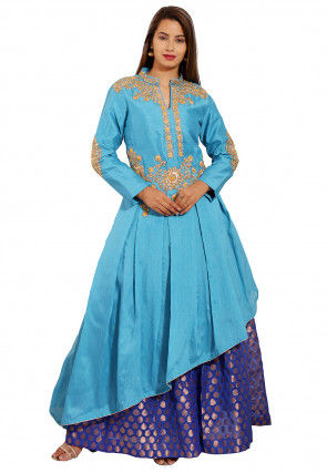 Embroidered Dupion Silk Asymmetric Kurta in Light Blue