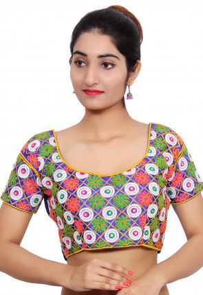Embroidered Dupion Silk Blouse in Multicolor and Blue