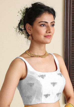 Embroidered Dupion Silk Blouse in White