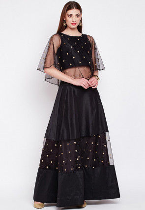 Embroidered Dupion Silk Cape Style Crop Top N Skirt in Black