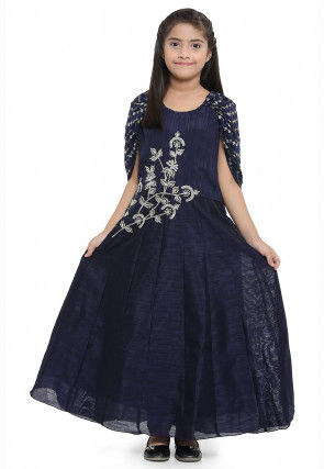 Embroidered Dupion Silk Cape Style Gown in Navy Blue