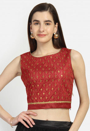 Embroidered Dupion Silk Crop Top in Maroon