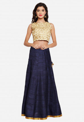 Embroidered Dupion Silk Crop Top with Skirt in Beige and Navy Blue
